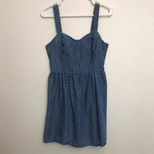 Polka dot fitted top denim dress